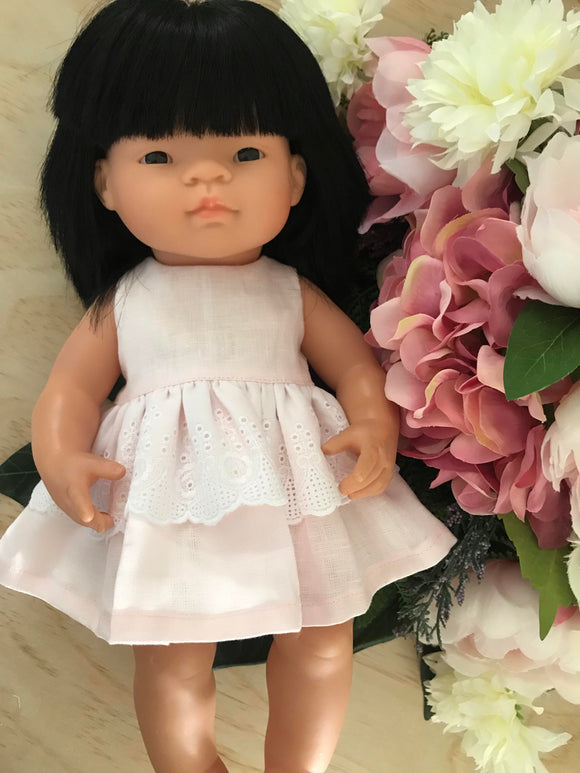 Dress Set to suit 38cm Miniland Doll - Baby Pink Linen and Lace