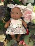 MADE TO ORDER (UP to 2 WEEKS) Dress Set - PINNY -  to suit 21cm Miniland Doll - May Gibbs - Pink Flannel Flower Babies