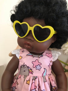 Doll Glasses - Hearts - yellow