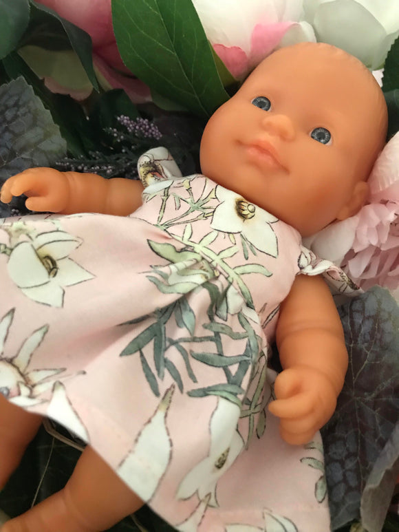 MADE TO ORDER (UP 2 WEEKS) Dress Set -  to suit 21cm Miniland Doll - May Gibbs - Pink Flannel Flower Babies