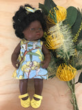 MADE TO ORDER (UP 2 WEEKS) Dress Set - PINNY -  to suit 38cm Miniland Doll -May Gibbs - Blue Wattle