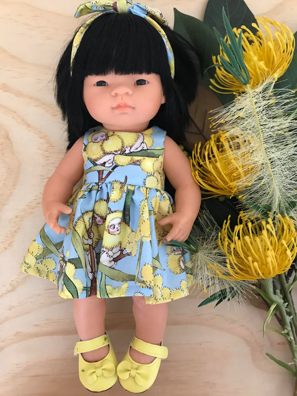 MADE TO ORDER (UP TO 2 WEEK TURN AROUND)  Dress Set to suit 38cm Miniland Doll -  May Gibbs - Blue Wattle