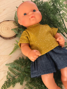 Shorts Set to suit 32cm Miniland doll - Mustard with specks and Dark Denim Shorts