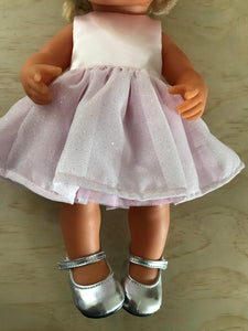 Mary Jane Shoes to suit 38cm Miniland Doll - Silver