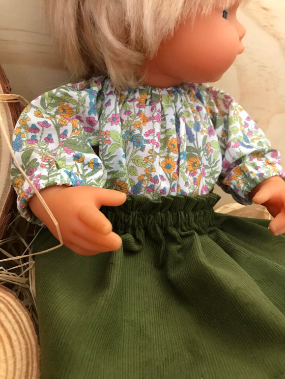 Skirt Set to suit 38cm Miniland Doll - Wildflowers and forest green corduroy