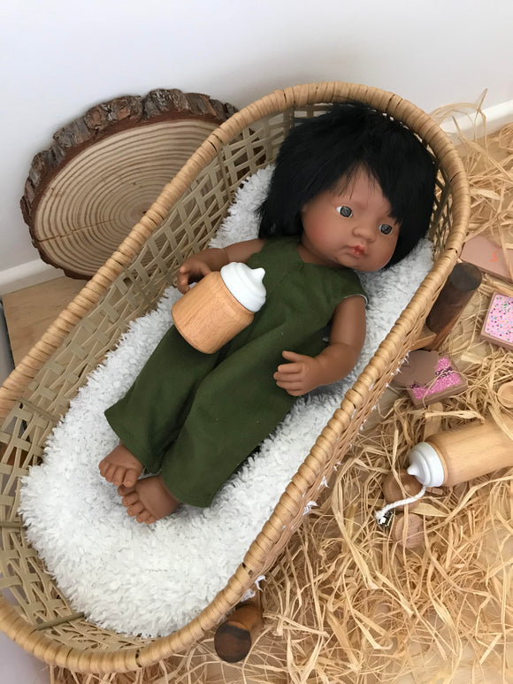 Overalls -  to suit 38cm Miniland Doll - Olive Corduroy