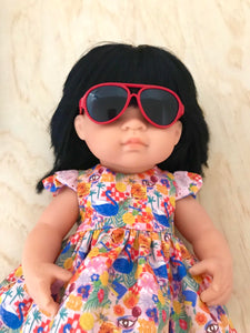 Doll Glasses - Aviators - Red