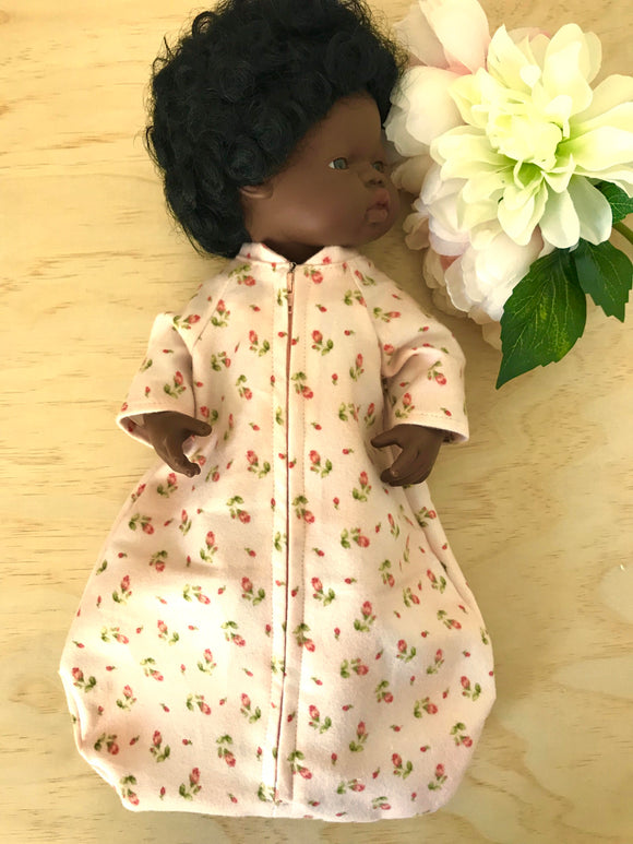Sleeping Bag on its own, to suit 38cm Miniland Doll - Blush Peach Buds