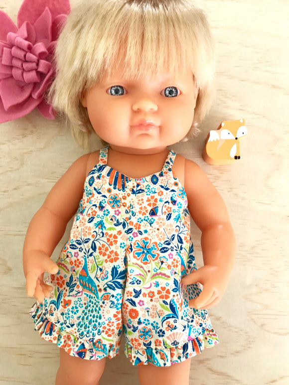 Playsuit to suit 38cm Miniland Doll - Liberty London - Junos Garden