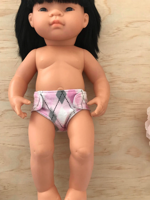 Nappy to suit 38cm Miniland Doll - Pink Diamonds