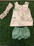 MADE TO ORDER (UP TO 2 WEEK TURN AROUND)  Dress Set - PINNY -  to suit 38cm Miniland Doll -May Gibbs - Pink Flannel Flower Babies