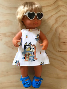MADE TO ORDER (UP TO 2 WEEKS MAKE TIME)  Dress Set - PINNY -  to suit 38cm Miniland Doll -  Bluey - Family Fun