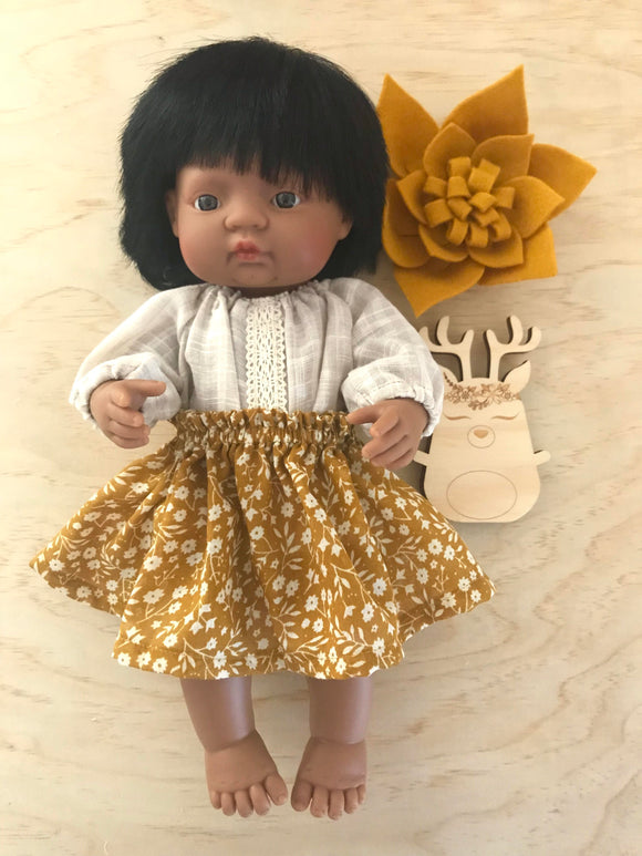 Skirt Set to suit 38cm Miniland Doll - Mustard and Beige Fun