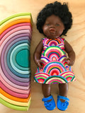 Dress Set - PINNY -  to suit 38cm Miniland Doll -  Bright Rainbows
