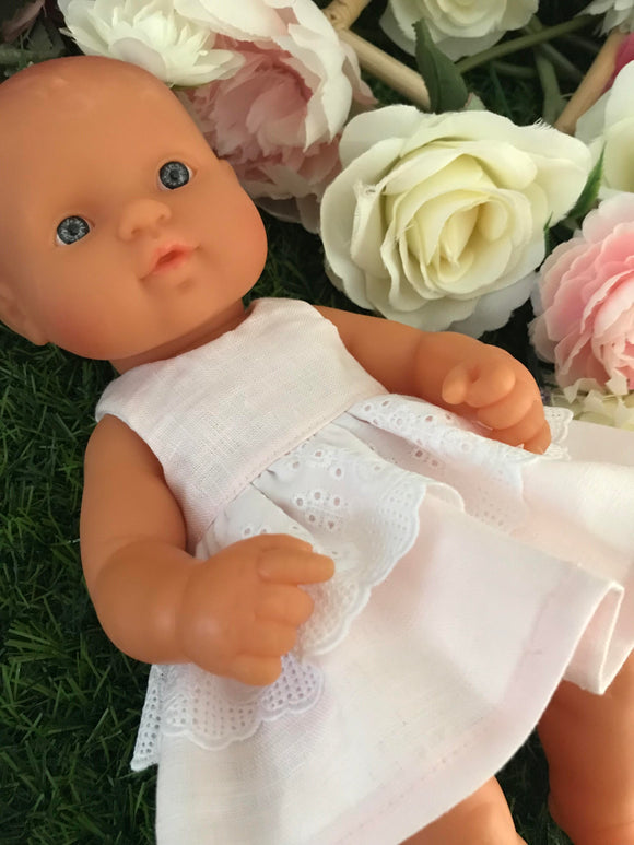 Dress Set to suit 32cm Miniland Doll - Baby Pink Linen and Lace