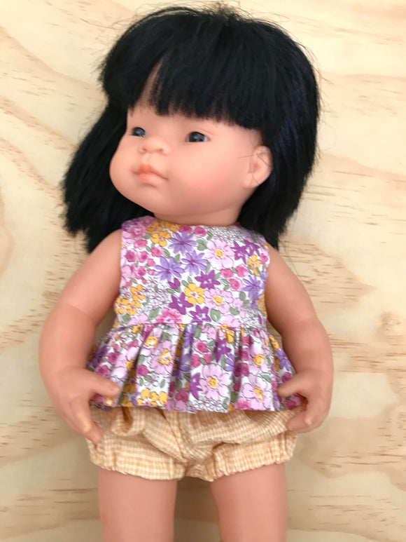 Zoe Bloomer and Blouse Set to suit 38cm Miniland doll - afternoon country garden