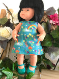 Mary Jane Shoes to suit 38cm Miniland Doll - Patent Teal