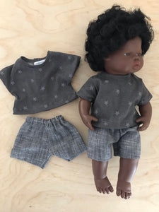 MADE TO ORDER (UP 2 WEEKS)Shorts Set to suit 38cm Miniland doll - Charcoal 'T' and Black Linen Shorts.