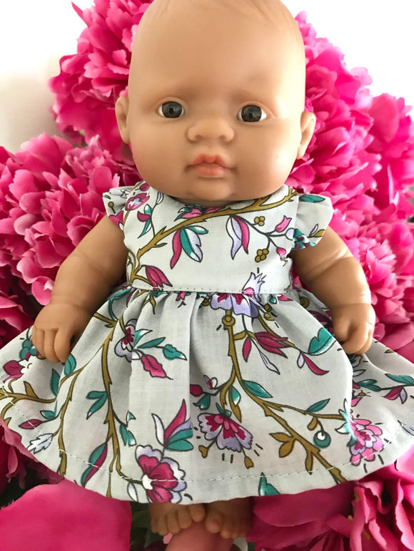 MADE TO ORDER (UP TO 2 WEEKS) Stephanie Dress Set to suit 21cm Miniland Doll - Deep Pink Blooms on Grey
