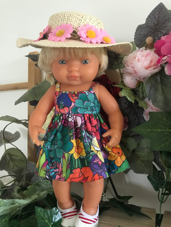 Doll Hat - Pink Daisy