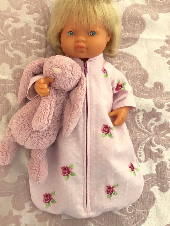 Sleeping Bag 3 piece Set to suit 38cm Miniland Doll - Pink Roses