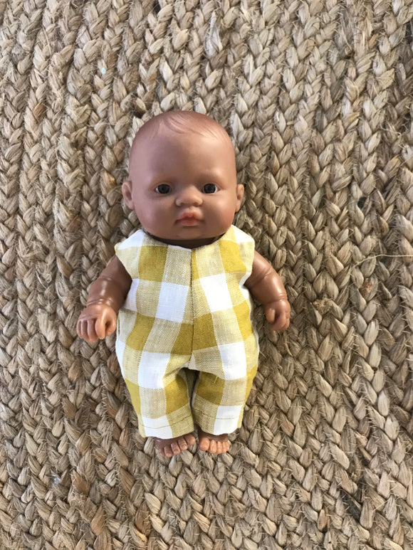 Overalls to suit 21cm Miniland Doll - Freckly Ollie - Mustard Gingham