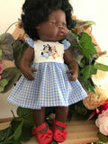 MADE TO ORDER (2 WEEKS)  Dress Set to suit 38cm Miniland Doll - Bluey - Little Dance