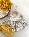 Maisy Dress Set to suit 38cm Miniland Doll - Golden Mustard Prettiness