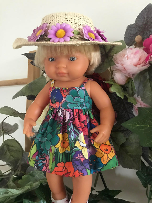 Doll Hat - Purple Daisy