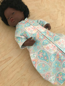 Sleeping Bag on its own, to suit 38cm Miniland Doll - Turquoise Paisley