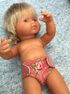 Nappy to suit 38cm Miniland Doll - Peachy Coral Roses