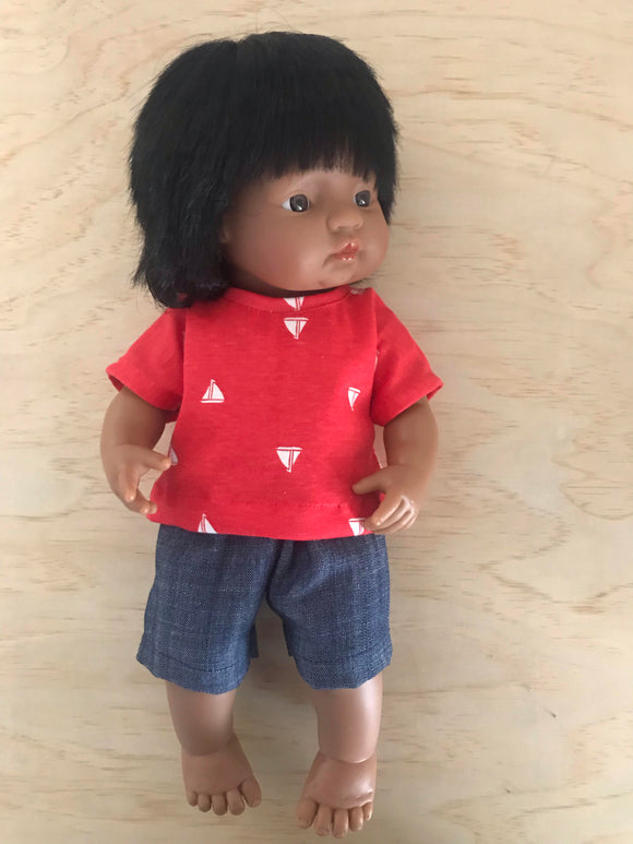 Shorts Set to suit 38cm Miniland doll - Ships on Red and Dark Denim Shorts.