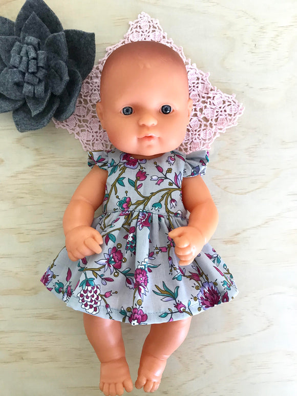 Stephanie Dress Set to suit 32cm Miniland Doll - Deep Pink Blooms on Grey