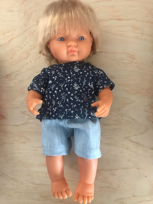 Shorts Set to suit 38cm Miniland doll - Navy Flora and Light Denim Shorts.