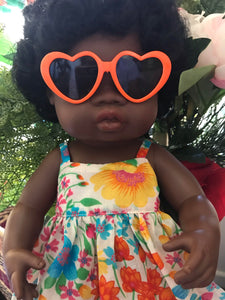 Doll Glasses - Hearts - Orange