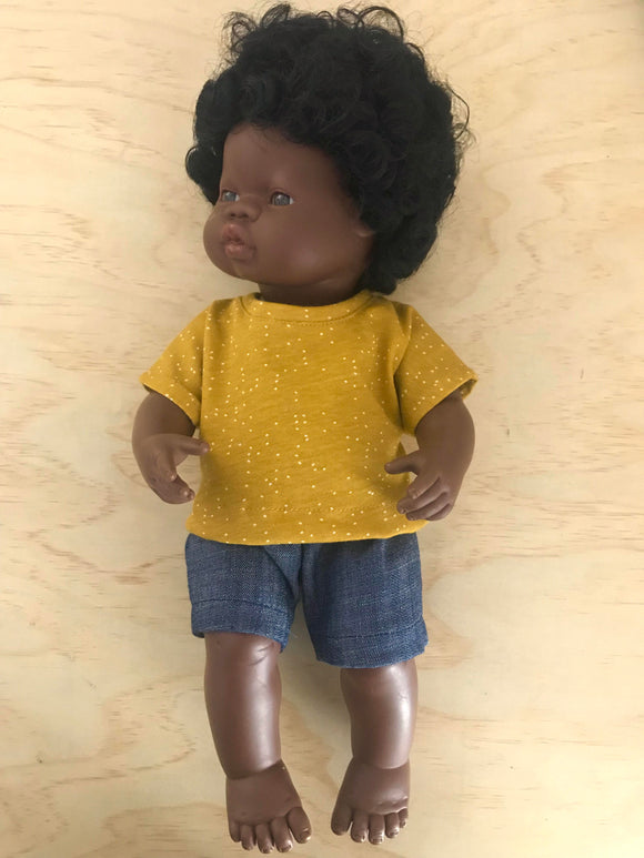 Shorts Set to suit 38cm Miniland doll - Mustard with Specks and Dark Denim Shorts.