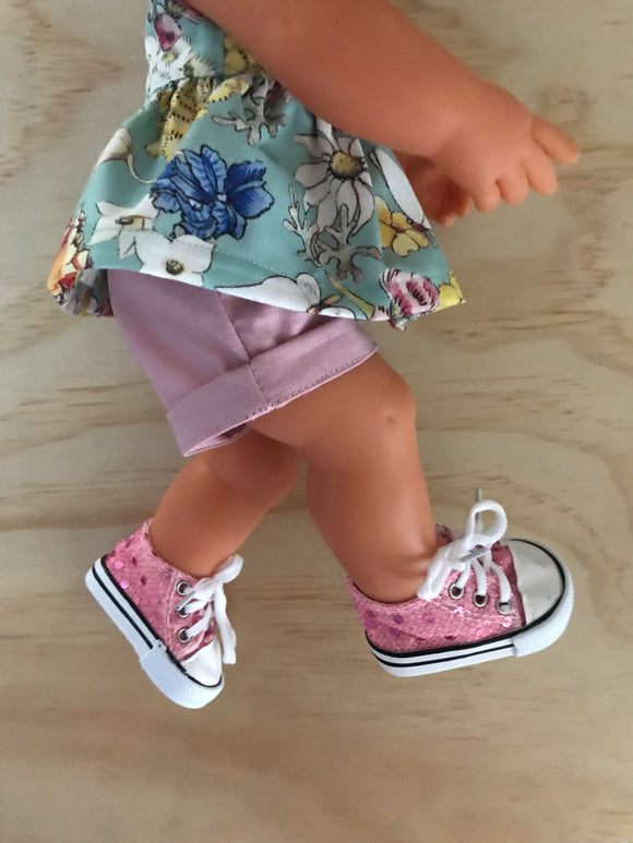 Trainers. Lace up Shoes to suit 38cm Miniland Doll - Sparkle Pink