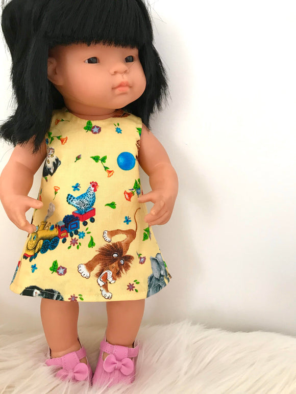 MADE TO ORDER (UP TO A 2 WEEK MAKE TIME) Dress Set - PINNY -  to suit 38cm Miniland Doll -  Golden