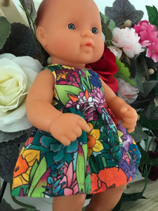 MADE TO ORDER (2 WEEKS) Dress Set to suit 32cm Miniland Doll - Kasey Rainbow - Full Bloom