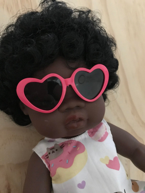 Doll Glasses - Hearts - Coral Hot Pink