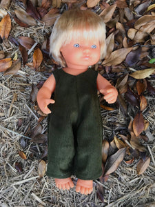 MADE TO ORDER (UP TO 2 WEEKS) Overalls to suit 38cm Miniland Doll - Freckly Ollie - Moss Corduroy