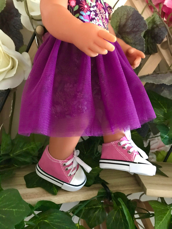 Trainers. Lace up Shoes to suit 38cm Miniland Doll - Canvas - Hot Pink