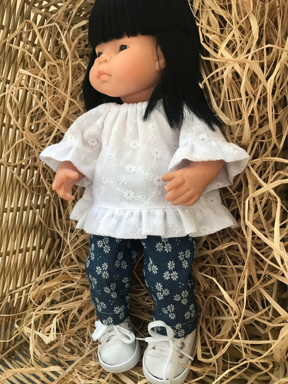 Trousers Set to suit 38cm Miniland doll - Broderie Blouse and Trousers