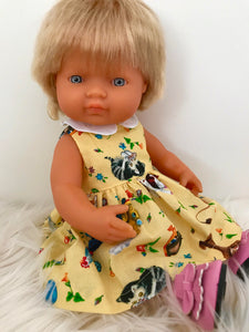 MADE TO ORDER (UP TO A 2 WEEK MAKE TIME) Dress Set to suit 38cm Miniland Doll -  Golden