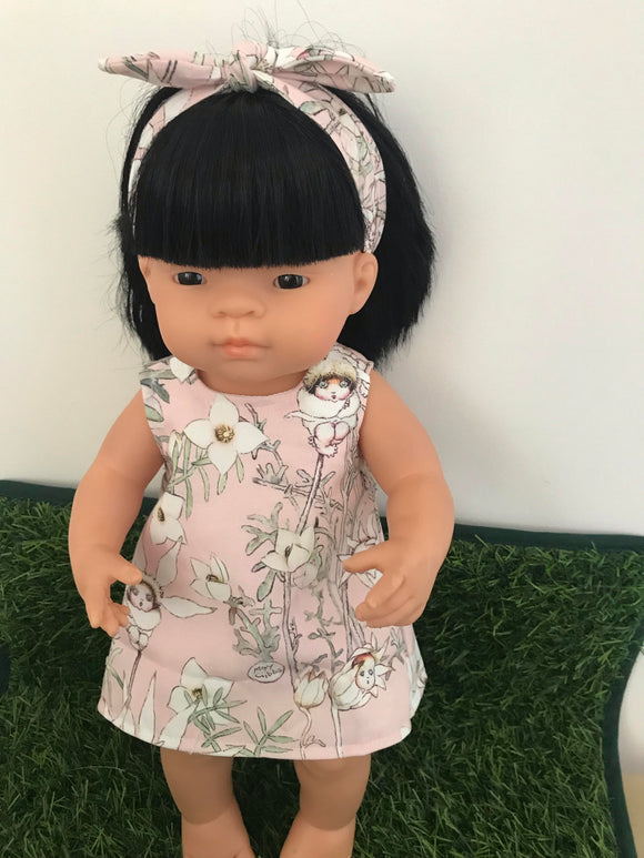 MADE TO ORDER (UP TO 2 WEEKS) Dress Set - PINNY -  to suit 38cm Miniland Doll -May Gibbs - Pink Flannel Flower Babies
