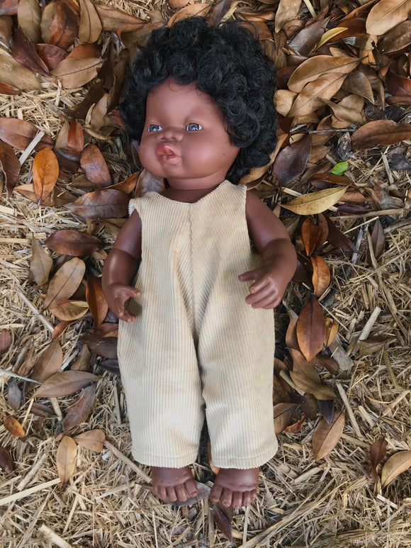MADE TO ORDER (2 WEEK MAKE TIME) Overalls to suit 38cm Miniland Doll - Freckly Ollie - Wheat Corduroy
