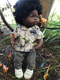 Trousers Set to suit 38cm Miniland doll - Dino Shirt and Charcoal Trousers