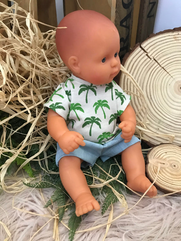 Shorts Set to suit 32cm Miniland doll - Palm 'T' and Light Denim Shorts