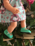 Mary Jane Shoes to suit 38cm Miniland Doll - Patent Jade
