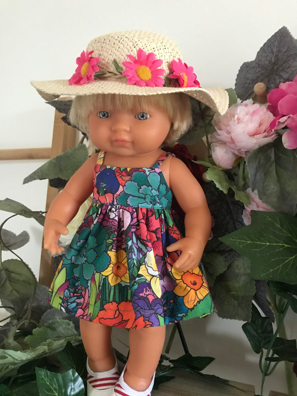 Doll Hat - Hot Pink Daisy